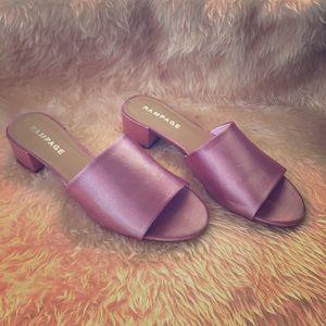 Pink Satin Mules